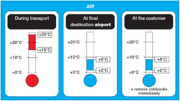 Etikett Luftfracht Transporthinweis 2°C - 8°C