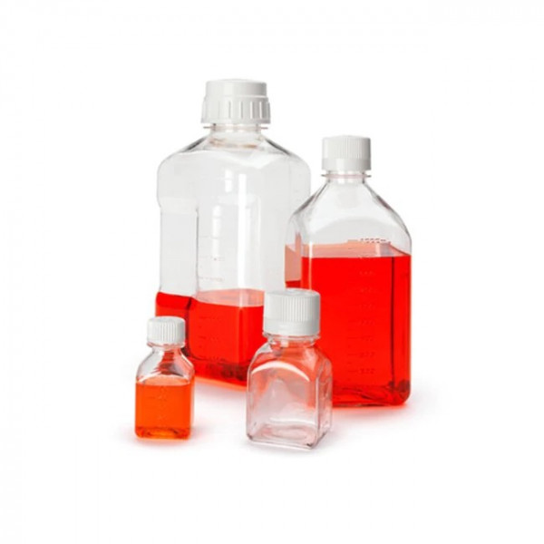 Nährmedienflasche 500 ml, PETG graduiert, quadratisch, steril